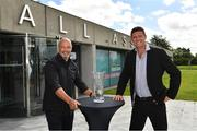 8 August 2020; The Football Association of Ireland have confirmed that Paul McGrath and Anne O'Brien have both been inducted into the Hall of Fame. Pictured are Niall Quinn, FAI Deputy Interim CEO, and Paul McGrath at the 3 FAI International Awards presentation at the FAI Headquarters in Abbotstown, Dublin. Photo by Ray McManus/Sportsfile