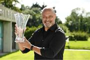8 August 2020; The Football Association of Ireland have confirmed that Paul McGrath and Anne O'Brien have both been inducted into the Hall of Fame. Pictured is Paul McGrath with his award at the 3 FAI International Awards presentation at the FAI Headquarters in Abbotstown, Dublin. Photo by Ray McManus/Sportsfile