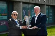 6 August 2020; The former player, referee and Republic of Ireland kit manager Charlie O'Leary has been announced as the 21st recipient of the Special Merit Award award, pictured withy his son John, during the 3 FAI International Awards presentation at the FAI Headquarters in Abbotstown, Dublin. Photo by Ray McManus/Sportsfile