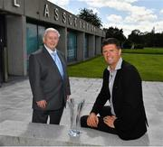 6 August 2020; The former player, referee and Republic of Ireland kit manager Charlie O'Leary has been announced as the 21st recipient of the Special Merit Award award, pictured with Niall Quinn, FAI Deputy Interim CEO, during the 3 FAI International Awards presentation at the FAI Headquarters in Abbotstown, Dublin. Photo by Ray McManus/Sportsfile