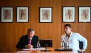 5 August 2020; FAI Interim Chief Executive Gary Owens and FAI Interim Deputy Chief Executive Niall Quinn, right, during the FAI Board Press Conference at FAI Headquarters in Abbotstown, Dublin. Photo by Stephen McCarthy/Sportsfile