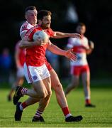 5 August 2020; Chris Barrett of Clontarf in action against Stephen O'Quigley of Whitehall Colmcille during the Dublin County Senior Football Championship Round 2 match between Clontarf and Whitehall Colmcille at St Anne's Park in Dublin. Photo by Piaras Ó Mídheach/Sportsfile