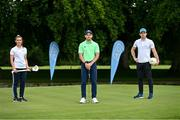 6 August 2020; AIG today launched this year's AIG Cups & Shields at the GUI National Golf Academy at Carton House in Maynooth, Kildare. On hand were Ireland golf team member Keith Egan, centre, Dublin footballer Davy Byrne, right, and Dublin Camogie player Hannah Hegarty. AIG Insurance is offering exclusive discounts to GUI and ILGU members. For a quote, go to www.aig.ie/golfer Photo by Sam Barnes/Sportsfile