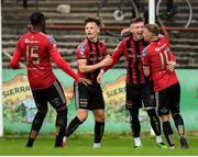 7 August 2020; Danny Grant, second from right, is congratulated by Bohemians team-mates, from left, Andre Wright, Andy Lyons and Keith Ward after scoring his side's first goal during the SSE Airtricity League Premier Division match between Bohemians and Dundalk at Dalymount Park in Dublin. Photo by Stephen McCarthy/Sportsfile