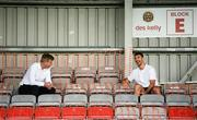 7 August 2020; Republic of Ireland manager Stephen Kenny in conversation with Republic of Ireland and Sheffield United defender Enda Stevens during the SSE Airtricity League Premier Division match between Bohemians and Dundalk at Dalymount Park in Dublin. Photo by Stephen McCarthy/Sportsfile