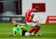 7 August 2020; Ryan Connolly of Finn Harps in action against Jamie Lennon of St Patrick's Athletic during the SSE Airtricity League Premier Division match between St Patrick's Athletic and Finn Harps at Richmond Park in Dublin. Photo by Seb Daly/Sportsfile