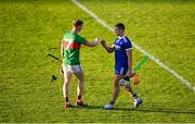 7 August 2020; John Meagher of Loughmore-Castleiney and Ronan Maher of Thurles Sarsfields bump fists following the Tipperary County Senior Hurling Championship Group 3 Round 2 match between Loughmore-Castleiney and Thurles Sarsfields at Semple Stadium in Thurles, Tipperary. Photo by Sam Barnes/Sportsfile