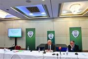7 August 2020; FAI President Gerry McAnaney, left, and FAI Independent Chairperson Roy Barrett during an FAI Press Conference following Special Meeting of FAI National Council at the Red Cow Moran's Hotel in Dublin. Photo by Brendan Moran/Sportsfile