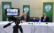 7 August 2020; FAI President Gerry McAnaney, left, and FAI Independent Chairperson Roy Barrett are recorded by a smartphone during an FAI Press Conference following Special Meeting of FAI National Council at the Red Cow Moran's Hotel in Dublin. Photo by Brendan Moran/Sportsfile