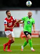 7 August 2020; Mark Coyle of Finn Harps in action against Robbie Benson of St Patrick's Athletic during the SSE Airtricity League Premier Division match between St Patrick's Athletic and Finn Harps at Richmond Park in Dublin. Photo by Seb Daly/Sportsfile