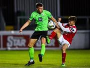 7 August 2020; Sam Todd of Finn Harps in action against Darragh Markey of St Patrick's Athletic during the SSE Airtricity League Premier Division match between St Patrick's Athletic and Finn Harps at Richmond Park in Dublin. Photo by Seb Daly/Sportsfile
