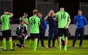 7 August 2020; Finn Harps manager Ollie Horgan talks to his players following their side's defeat during the SSE Airtricity League Premier Division match between St Patrick's Athletic and Finn Harps at Richmond Park in Dublin. Photo by Seb Daly/Sportsfile