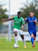 8 August 2020; Joseph Olowu of Cork City in action against Kurtis Byrne of Waterford during the SSE Airtricity League Premier Division match between Waterford and Cork City at RSC in Waterford. Photo by Sam Barnes/Sportsfile
