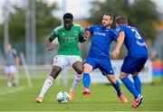 8 August 2020; Joseph Olowu of Cork City in action against Kurtis Byrne, centre, and Tyreke Wilson of Waterford during the SSE Airtricity League Premier Division match between Waterford and Cork City at RSC in Waterford. Photo by Sam Barnes/Sportsfile