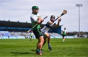 8 August 2020; Michael May of Lucan Sarsfields in action against Johnny Walsh of St Vincent's during the Dublin County Senior Hurling Championship Group 1 Round 3 match between St Vincent's and Lucan Sarsfields at Parnell Park in Dublin. Photo by David Fitzgerald/Sportsfile