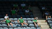 8 August 2020; Lucan Sarsfields substitutes look on during the Dublin County Senior Hurling Championship Group 1 Round 3 match between St Vincent's and Lucan Sarsfields at Parnell Park in Dublin. Photo by David Fitzgerald/Sportsfile