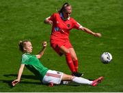 8 August 2020; Jamie Finn of Shelbourne in action against Christina Dring of Cork City during the FAI Women's National League match between Shelbourne and Cork City at Tolka Park in Dublin. Photo by Eóin Noonan/Sportsfile