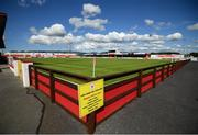8 August 2020; Covid-19 signage is seen at The Showgrounds prior to the SSE Airtricity League Premier Division match between Sligo Rovers and Shelbourne at The Showgrounds in Sligo. Photo by Stephen McCarthy/Sportsfile