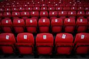 8 August 2020; Seating restrictions are seen at The Showgrounds prior to the SSE Airtricity League Premier Division match between Sligo Rovers and Shelbourne at The Showgrounds in Sligo. Photo by Stephen McCarthy/Sportsfile