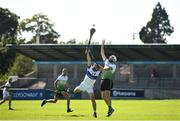 8 August 2020; Peter Kelly of Lucan Sarsfields in action against Rory Finn of St Vincent's during the Dublin County Senior Hurling Championship Group 1 Round 3 match between St Vincent's and Lucan Sarsfields at Parnell Park in Dublin. Photo by David Fitzgerald/Sportsfile
