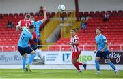 8 August 2020; Jesse Devers of Sligo Rovers heads his side's first goal during the SSE Airtricity League Premier Division match between Sligo Rovers and Shelbourne at The Showgrounds in Sligo. Photo by Stephen McCarthy/Sportsfile
