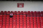 8 August 2020; A Sligo Rovers supporter in Block H applauds his side out prior to the SSE Airtricity League Premier Division match between Sligo Rovers and Shelbourne at The Showgrounds in Sligo. Photo by Stephen McCarthy/Sportsfile
