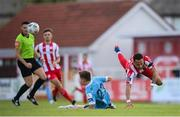 8 August 2020; Will Seymour of Sligo Rovers in action against Luke Byrne of Shelbourne during the SSE Airtricity League Premier Division match between Sligo Rovers and Shelbourne at The Showgrounds in Sligo. Photo by Stephen McCarthy/Sportsfile