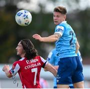 8 August 2020; Luke Byrne of Shelbourne in action against Ronan Coughlan of Sligo Rovers during the SSE Airtricity League Premier Division match between Sligo Rovers and Shelbourne at The Showgrounds in Sligo. Photo by Stephen McCarthy/Sportsfile