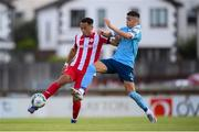 8 August 2020; Will Seymour of Sligo Rovers in action against Jaze Kabia of Shelbourne during the SSE Airtricity League Premier Division match between Sligo Rovers and Shelbourne at The Showgrounds in Sligo. Photo by Stephen McCarthy/Sportsfile