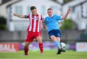 8 August 2020; Sean Quinn of Shelbourne in action against David Cawley of Sligo Rovers during the SSE Airtricity League Premier Division match between Sligo Rovers and Shelbourne at The Showgrounds in Sligo. Photo by Stephen McCarthy/Sportsfile
