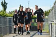 8 August 2020; Peamount United players, from left, Lauryn O'Callaghan, Megan Smyth-Lynch and Chloe Moloney prior to the FAI Women's National League match between Peamount United and Treaty United at PRL Park in Greenogue, Dublin. Photo by Seb Daly/Sportsfile