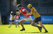 8 August 2020; Mark Schutte of Cuala in action against Hugh Fenlon of Na Fianna during the Dublin County Senior Hurling Championship Group 4 Round 3 match between Na Fianna and Cuala at Parnell Park in Dublin. Photo by David Fitzgerald/Sportsfile