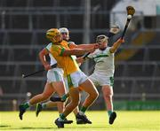 8 August 2020; Dan Morrissey of Ahane in action against Kevin O'Donnell and Conor Stanton of Kilmallock at the Limerick County Senior Hurling Championship Section A Group 2 Round 3 match between Kilmallock and Ahane at LIT Gaelic Grounds in Limerick. Photo by Matt Browne/Sportsfile