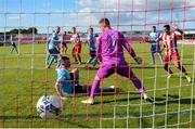 8 August 2020; David Cawley of Sligo Rovers scores his side's second goal past Shelbourne goalkeeper Colin McCabe during the SSE Airtricity League Premier Division match between Sligo Rovers and Shelbourne at The Showgrounds in Sligo. Photo by Stephen McCarthy/Sportsfile