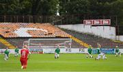 8 August 2020; Players take a knee ahead of the FAI Women's National League match between Shelbourne and Cork City at Tolka Park in Dublin. Photo by Eóin Noonan/Sportsfile