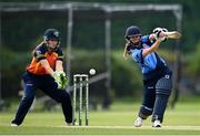 9 August 2020; Rachel Delaney of Typhoons plays a shot as Shauna Kavanagh of Scorchers watches on during the Women's Super Series match between Scorchers and Typhoons at Pembroke Cricket Club in Park Avenue, Dublin. Photo by Sam Barnes/Sportsfile