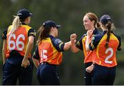 9 August 2020; Sophie MacMahon of Scorchers, second from right, celebrates with team-mates after bowling out Rebecca Stokell of Typhoons during the Women's Super Series match between Scorchers and Typhoons at Pembroke Cricket Club in Park Avenue, Dublin. Photo by Sam Barnes/Sportsfile