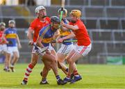 8 August 2020; Mark Carmody of Patrickswell in action against Pat Ryan and Dean Coleman of Doon during the Limerick County Senior Hurling Championship Section A Group 1 Round 3 match between Doon and Patrickswell at LIT Gaelic Grounds in Limerick. Photo by Matt Browne/Sportsfile