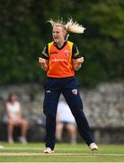 9 August 2020; Gaby Lewis of Scorchers celebrates after bowling Orla Prendergast of Typhoons during the Women's Super Series match between Scorchers and Typhoons at Pembroke Cricket Club in Park Avenue, Dublin. Photo by Sam Barnes/Sportsfile