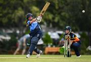 9 August 2020; Rachel Delaney of Typhoons hits a four during the Women's Super Series match between Scorchers and Typhoons at Pembroke Cricket Club in Park Avenue, Dublin. Photo by Sam Barnes/Sportsfile