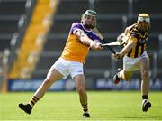 9 August 2020; Wayne Mallon of Faythe Harriers in action against James Cash of Shelmaliers during the Wexford County Senior Hurling Championship Quarter-Final match between Faythe Harriers and Shelmaliers at Chadwicks Wexford Park in Wexford. Photo by Harry Murphy/Sportsfile