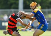 9 August 2020; Eanna Garvey of Cappataggle and Paul Huban of Loughrea during the Galway County Senior Hurling Championship Group 1 match between Cappataggle and Loughrea at Duggan Park in Ballinasloe, Galway. Photo by Ramsey Cardy/Sportsfile