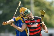 9 August 2020; Anthony Burns of Loughrea in action against James Garvey of Cappataggle during the Galway County Senior Hurling Championship Group 1 match between Cappataggle and Loughrea at Duggan Park in Ballinasloe, Galway. Photo by Ramsey Cardy/Sportsfile
