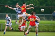 9 August 2020; Conor Stenson of Castlebar Mitchels contests a kickout with Conor O'Shea of Breaffy during the Mayo County Senior Football Championship Group 1 Round 3 match between Castlebar Mitchels and Breaffy at Páirc Josie Munnelly in Castlebar, Mayo. Photo by Brendan Moran/Sportsfile