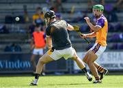 9 August 2020; Richie Lawlor of Faythe Harriers shoots to score his side's first goal past Brian Murphy of Shelmaliers during the Wexford County Senior Hurling Championship Quarter-Final match between Faythe Harriers and Shelmaliers at Chadwicks Wexford Park in Wexford. Photo by Harry Murphy/Sportsfile