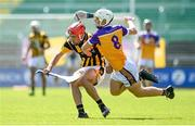 9 August 2020; Conor Hearne of Shelmaliers in action against Josh Sheil of Faythe Harriers during the Wexford County Senior Hurling Championship Quarter-Final match between Faythe Harriers and Shelmaliers at Chadwicks Wexford Park in Wexford. Photo by Harry Murphy/Sportsfile