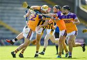 9 August 2020; James Cash of Shelmaliers in action against Faythe Harriers players, from left, Wayne Mallon, Paul Murphy and Colm Heffernan during the Wexford County Senior Hurling Championship Quarter-Final match between Faythe Harriers and Shelmaliers at Chadwicks Wexford Park in Wexford. Photo by Harry Murphy/Sportsfile