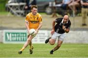 9 August 2020; Michael P O'Dowd of Clontibret O'Neills in action against Gavin Doogan of Magheracloone Mitchell's during the Monaghan Senior Football Championship Group 1 Round 3 match between Clontibret O'Neills and Magheracloone Mitchell's at Clontibret O'Neills GAA Club in Clontibret, Monaghan. Photo by Philip Fitzpatrick/Sportsfile