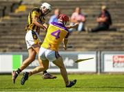 9 August 2020; Cormac Byrne of Faythe Harriers breaks his hurl blocking the shot of Conor Hearne of Shelmaliers during the Wexford County Senior Hurling Championship Quarter-Final match between Faythe Harriers and Shelmaliers at Chadwicks Wexford Park in Wexford. Photo by Harry Murphy/Sportsfile