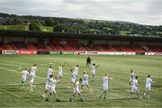 9 August 2020; Shamrock Rovers players warm up prior to the SSE Airtricity League Premier Division match between Derry City and Shamrock Rovers at Ryan McBride Brandywell Stadium in Derry. Photo by Stephen McCarthy/Sportsfile